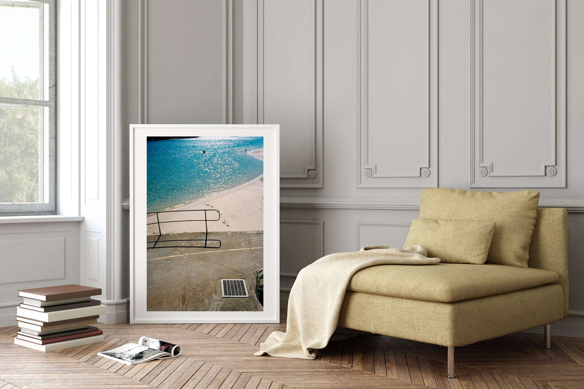 """A photograph of a blue river with people swimming, a pavement & rallying in the foreground of the photo. White sand and & water. The photo is in portrait orientation."" Artwork, Prints, wall art, GoldCoast Queensland Australia, Photographic prints, Ocean Beach, Framed artwork, Beach Posters   Film photography, Vintage photo style,  Interior design, Film photography Pictures sun & surf, lounge room"