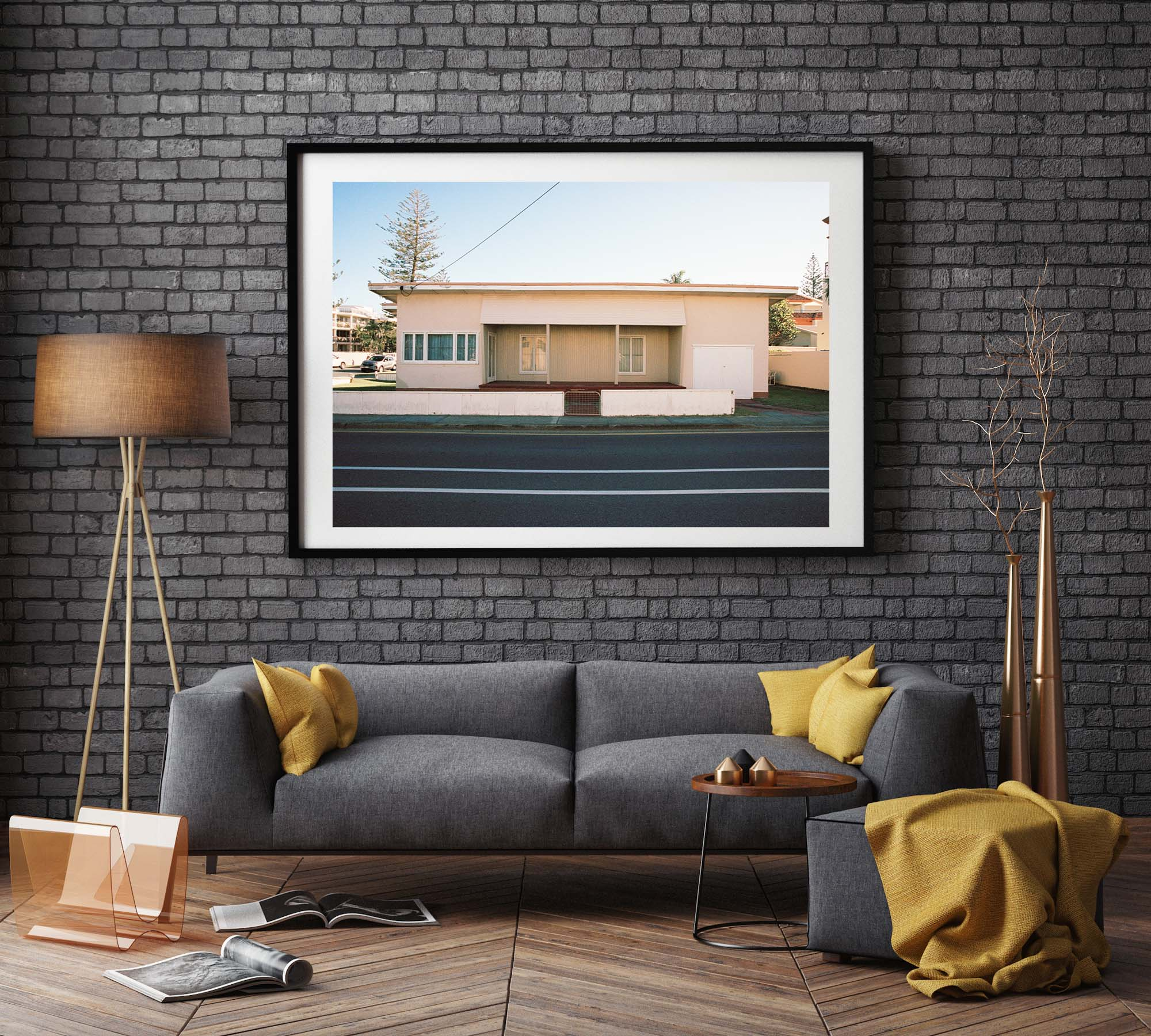 """A 1950's wood panelled house, painted cream colour with an Art Deco vintage style on a street"". Artwork, Prints, wallart, GoldCoast Queensland Australia, Photographic prints, Ocean Beach, Framed artwork, Beach Posters   Film photography, Vintage photo style,  Interior design, Film photography Pictures sun & surf, photography art"