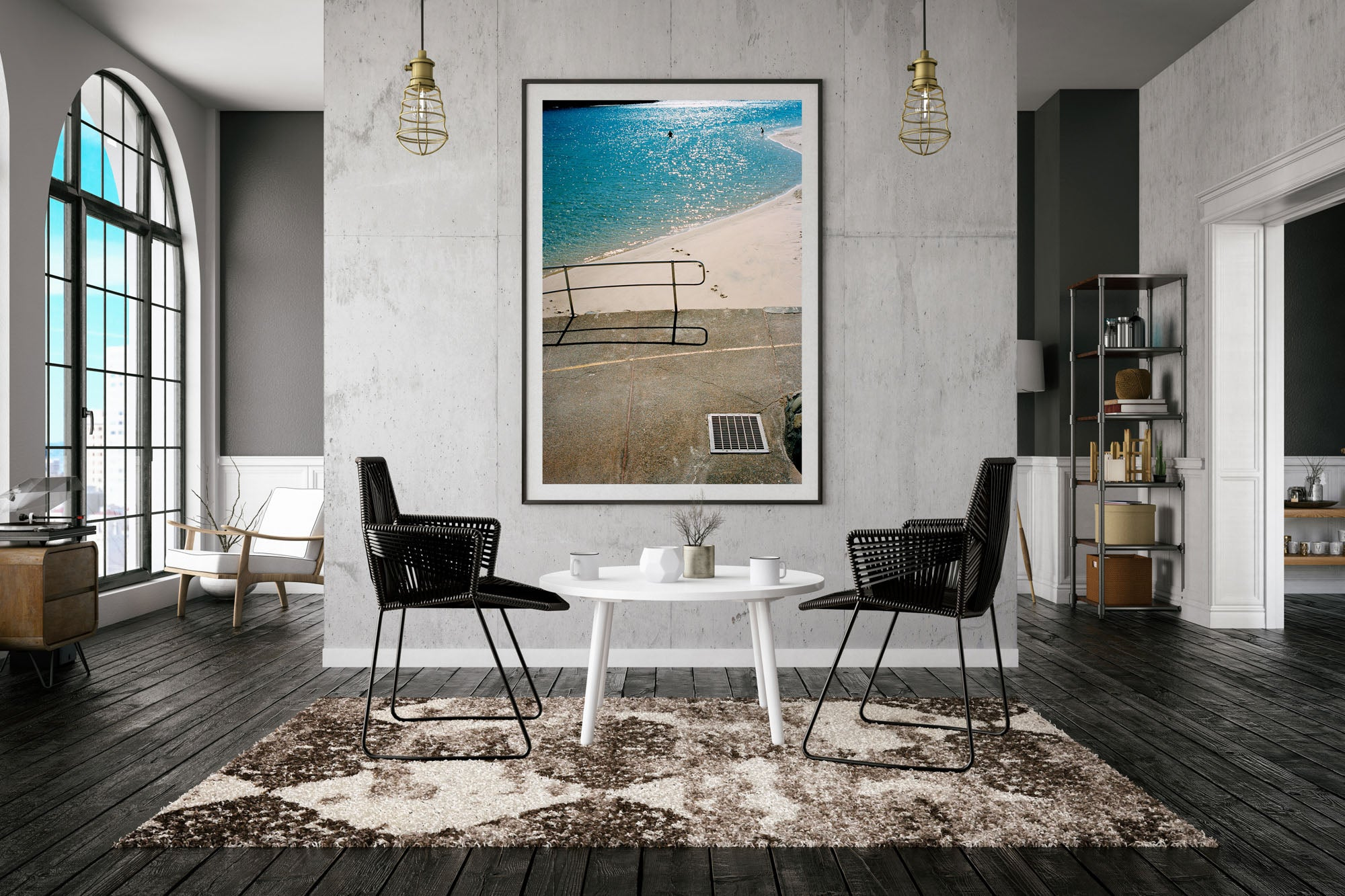 """A photograph of a blue river with people swimming, a pavement & rallying in the foreground of the photo. White sand and & water. The photo is in portrait orientation."" Artwork, Prints, wall art, GoldCoast Queensland Australia, Photographic prints, Ocean Beach, Framed artwork, Beach Posters   Film photography, Vintage photo style,  Interior design, Film photography Pictures sun & surf, lounge room, footprints in the sand"