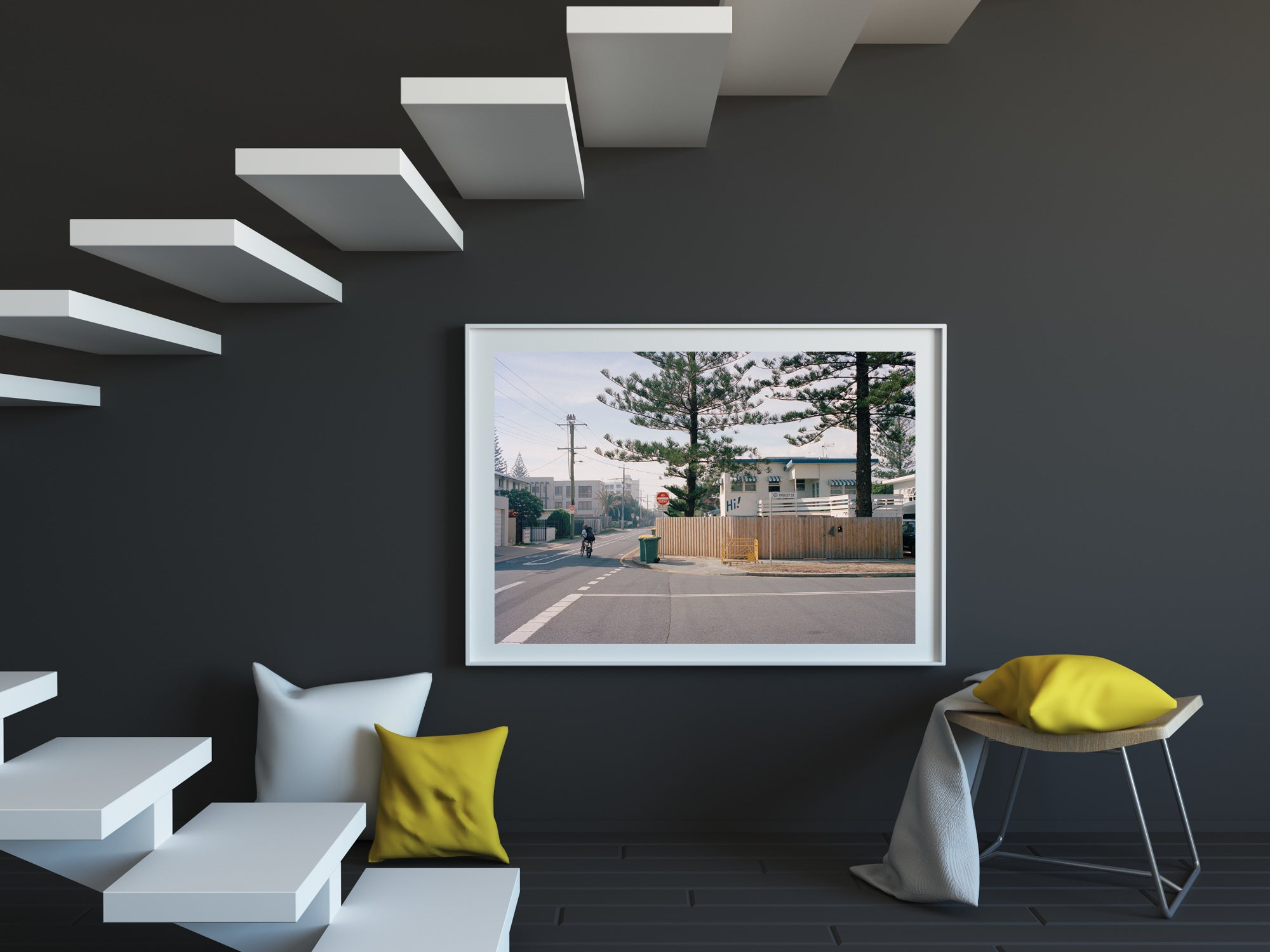 A colour photograph of an old beach house on the corner of a quiet street near the beach on the Goldcoast of Australia. There is a young man on his push bike on the street riding. Artwork Prints, wall art, Melbourne travel, Australia Photographic prints, Framed artwork, Australian Photography, Film photography, Vintage photo, style Interior design, Pictures, Abstract, film photography, photography for sale, music festival, architecture, gold coast, architecture, urban photography,