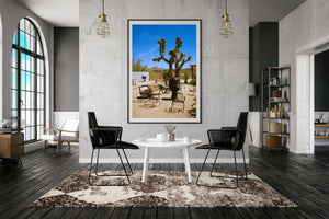 A room with a picture. A photographic print of the joshua treem motel california, swimimg pool at joshua tree's Artwork, Prints wall art California Photographic prints Ocean Palm Springs Framed artwork, Photography,  Film photography, Vintage photo style,  Interior design, beach, Buy Art, photography art, Joshua tree print, Joshua tree, buy art, Prints for sale, art prints, color photography,