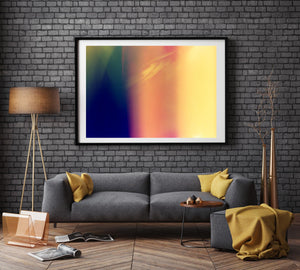 A photographic print on a wall in a room with a grey couch and . There is a lamp next to the seat & the walls are black brick. There are 2 doors,leica, light leak, color artwork , abstract,  Artwork Prints, wall art,  travel Australia, Photographic prints,  Framed artwor,k Beach, Photography Photography for sale Film photography Vintage photo style,  Interior design, Film photography, film photography, art for sale