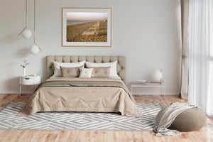 A bedroom with a photogrpahic print on the wall above the bed, a grey rug & soft furnishing, Photographic prints, Framed artwork, Australian Photography, wall art, Film photography, Vintage photo, style Interior design, Pictures Abstract film photography, photography art