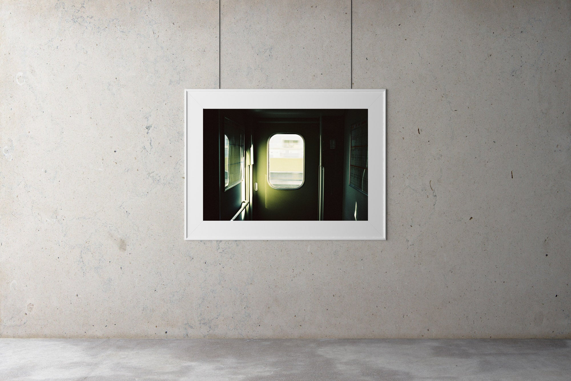 A photograph of the inside doorway in a fast train to Osaka Japan. The doorway is green. Artwork Prints, wall ar,t Japan, Osaka, Photographic prints,, Framed artwork,  Posters  Photography Photography for sale, Film photography, Vintage photo style,  Interior design, Film photography, Pictures framed, artwork, travel photography, 35mm film
