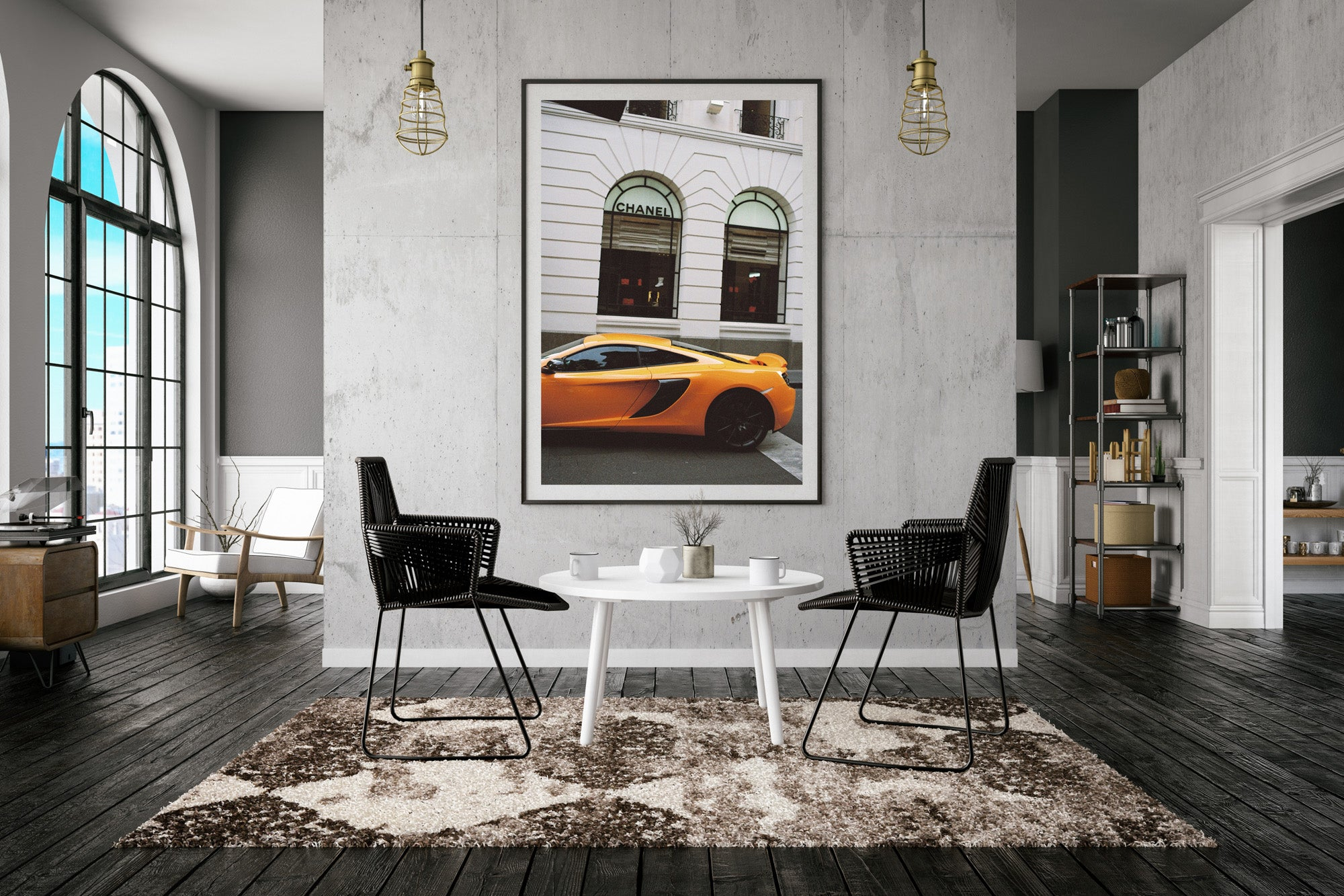 A photography of a yellow sports car outside a Chanel store in melbourne,,Artwork, Prints wall art  Photographic prints Framed artwork, Photography, urban arty, Chanel, sports car, lambourgini, Film photography, Vintage photo style,  Interior design, , Buy Art, photography art, buy art, Prints for sale, art prints, colour photography ,Chanel,