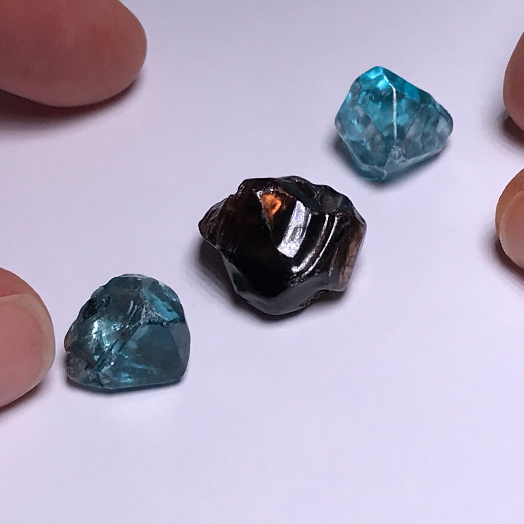 Cambodian Blue Zircon - stones with inclusions