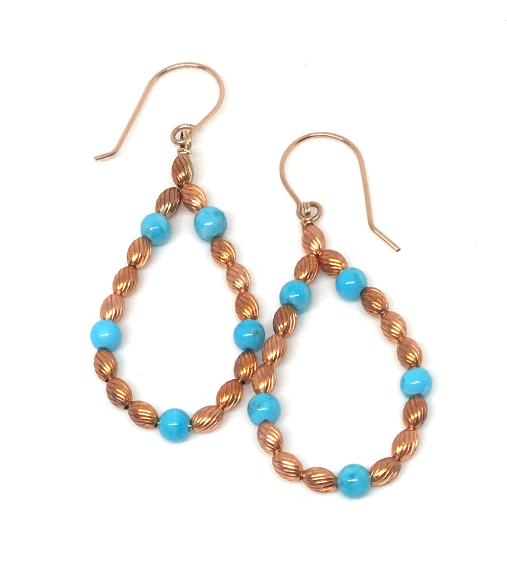Kingman Turquoise and Flame Painted Corrugated Copper Bead Hoop Earrings - Sonoran Sunset Collection