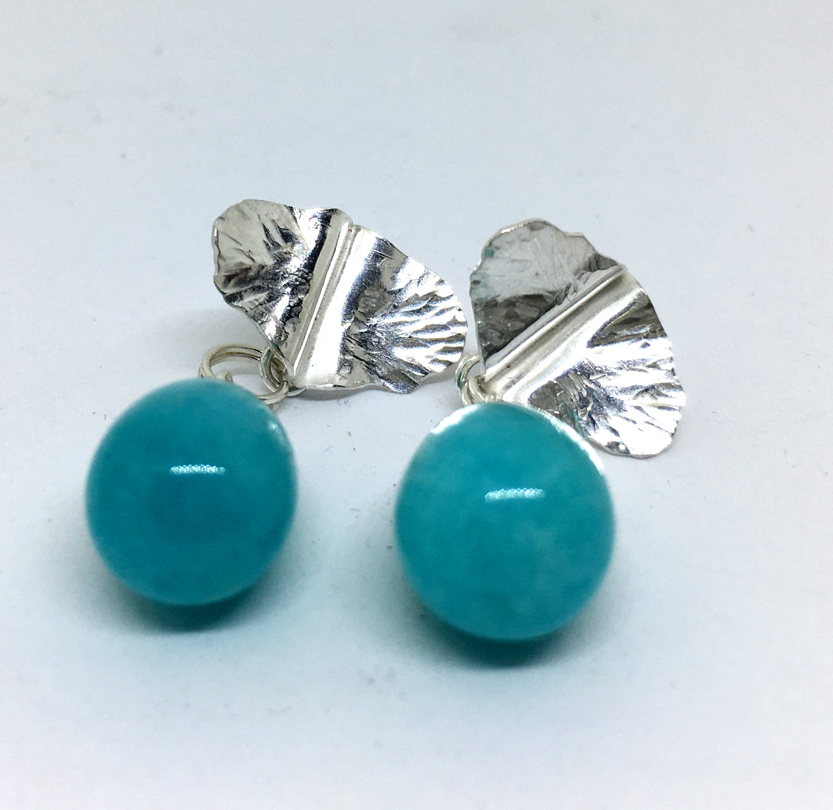 Sterling Silver Leaf and Amazonite Drop Earrings