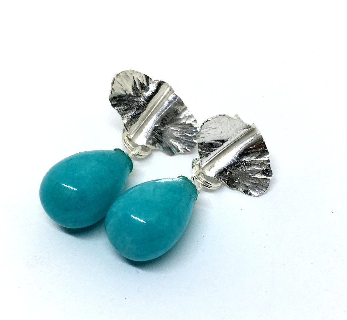 Sterling silver hand forged leaf earrings with amazonite drops