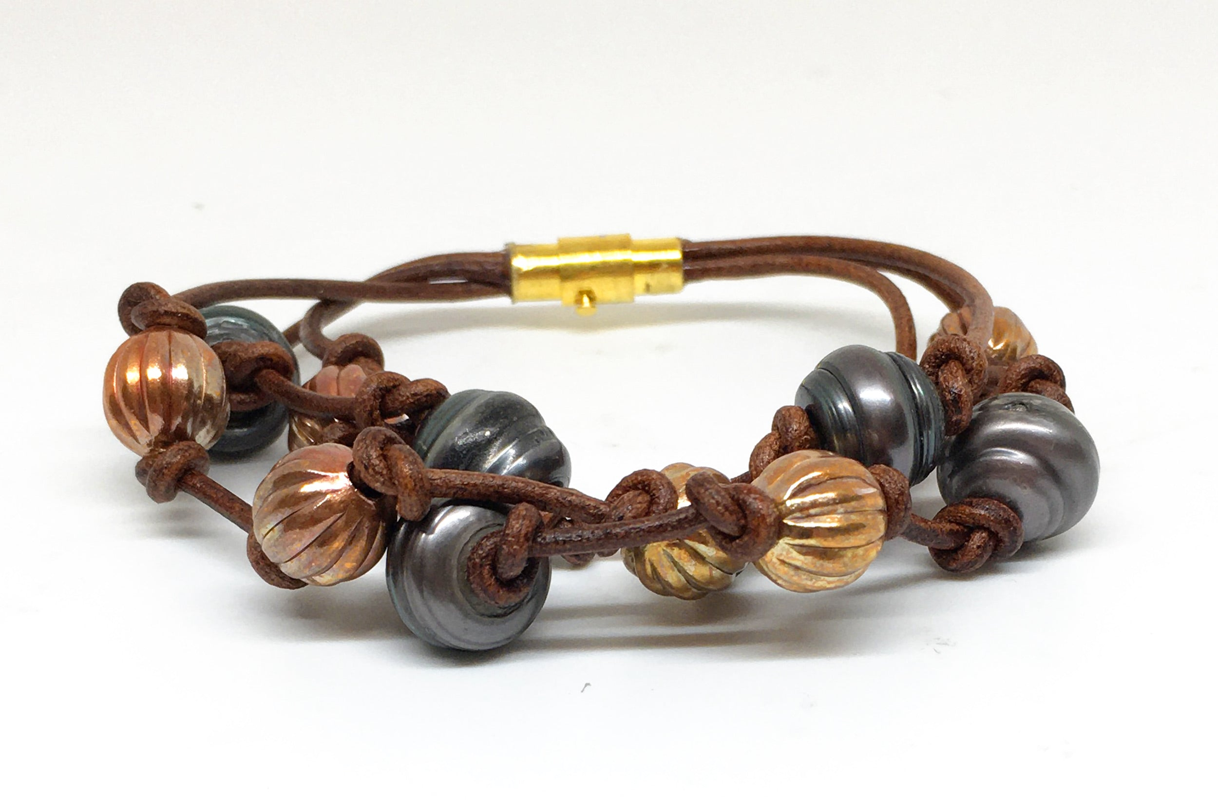 Baroque Black Pearl and Corrugated Copper Bead Triple Strand Leather Bracelet