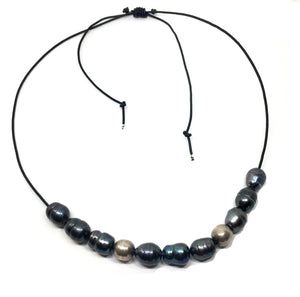 baroque peacock pearl vintage silver adjustable black leather necklace