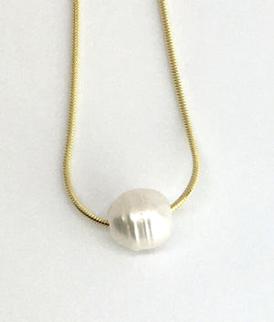 Single Baroque White Pearl on A Gold Plated Sterling Silver Chain