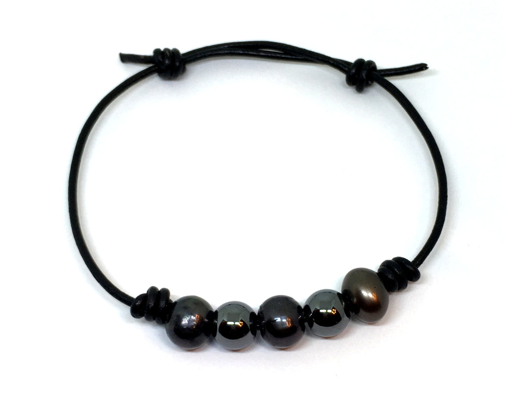 Black Pearl and Hematite Knotted Black Leather Bracelet for Men and Women