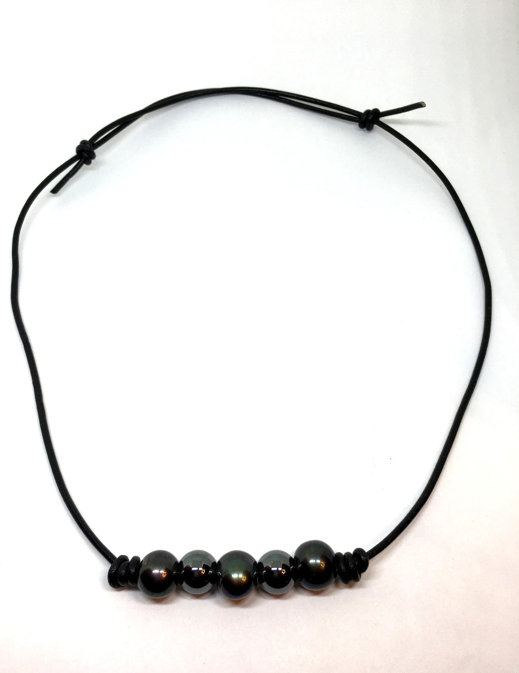 Black Pearl and Hematite Adjustable Knotted Black Leather Necklace