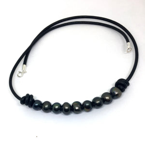 Black Pearl Barrel Knot Leather Necklace for Men and Women