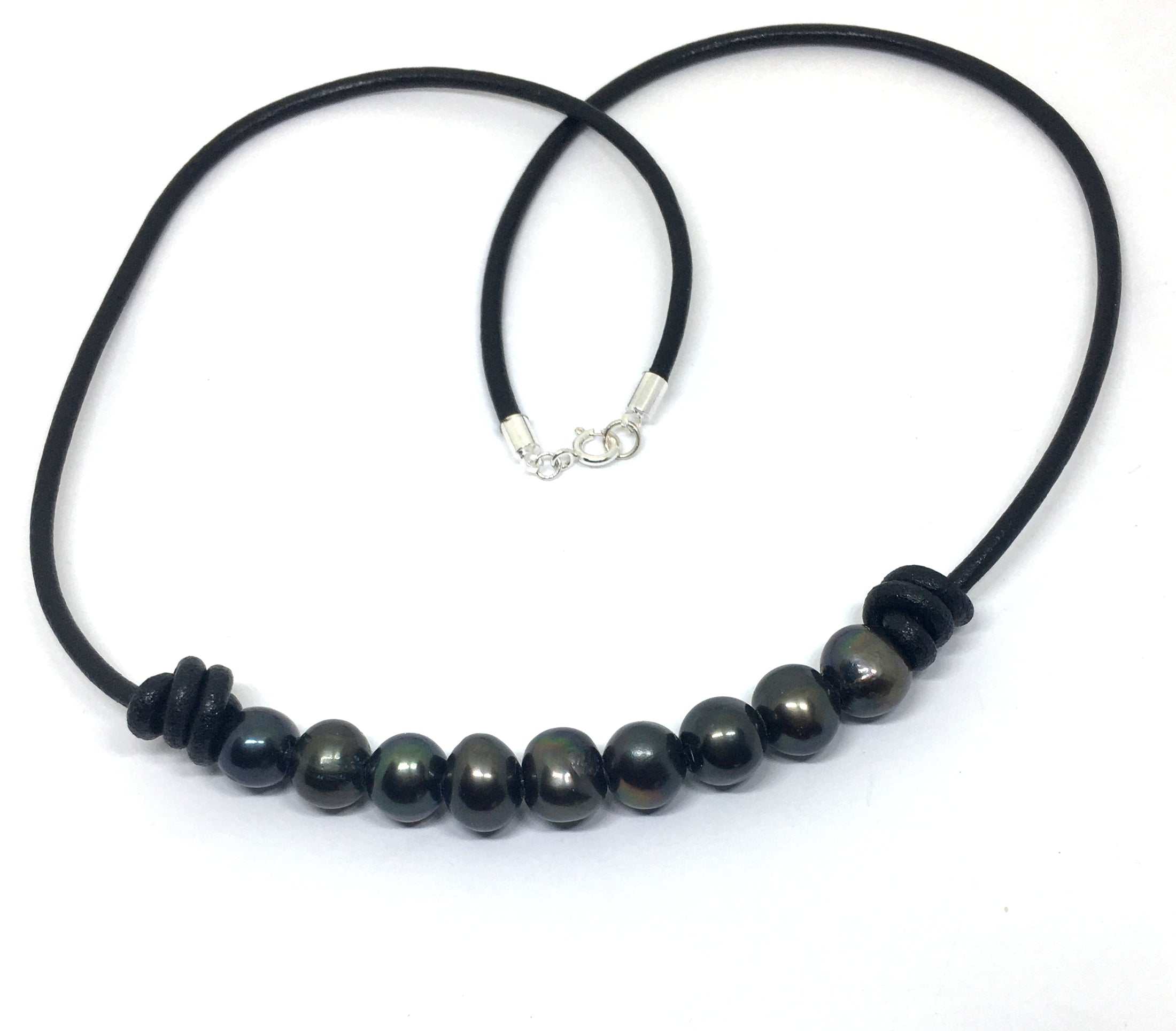 Black Pearl Barrel Knot Black Leather Necklace for Men and Women