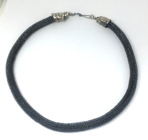 Black Viking Knit Necklace with Mitsuro Hikime