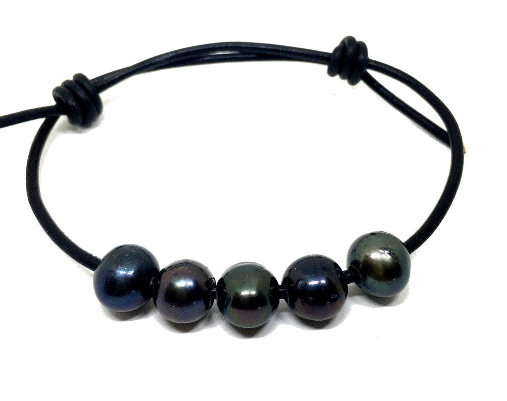 black pearl adjustable black leather bracelet