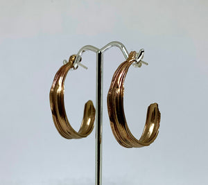 Burnished Bronze Bamboo Leaf Semi Hoop Earrings