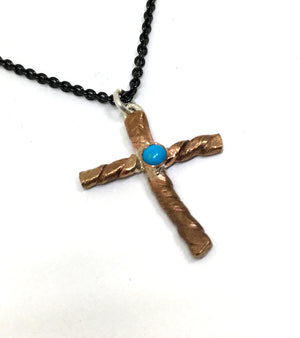 Brunished Bronze Cross with Sleeping Beauty Turquoise