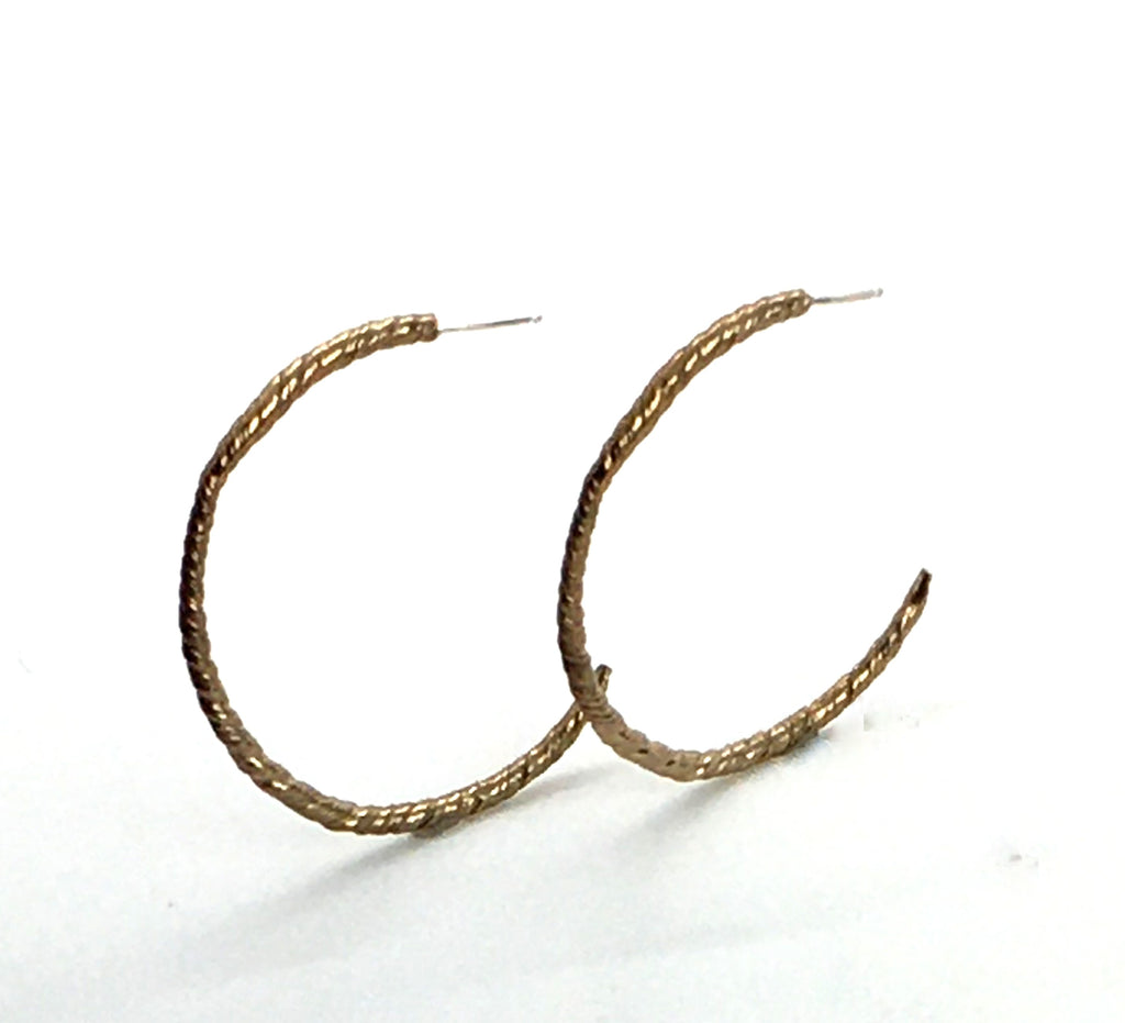 Twisted Bronze Semi Hoop Earrings with Sterling Silver Posts -LG