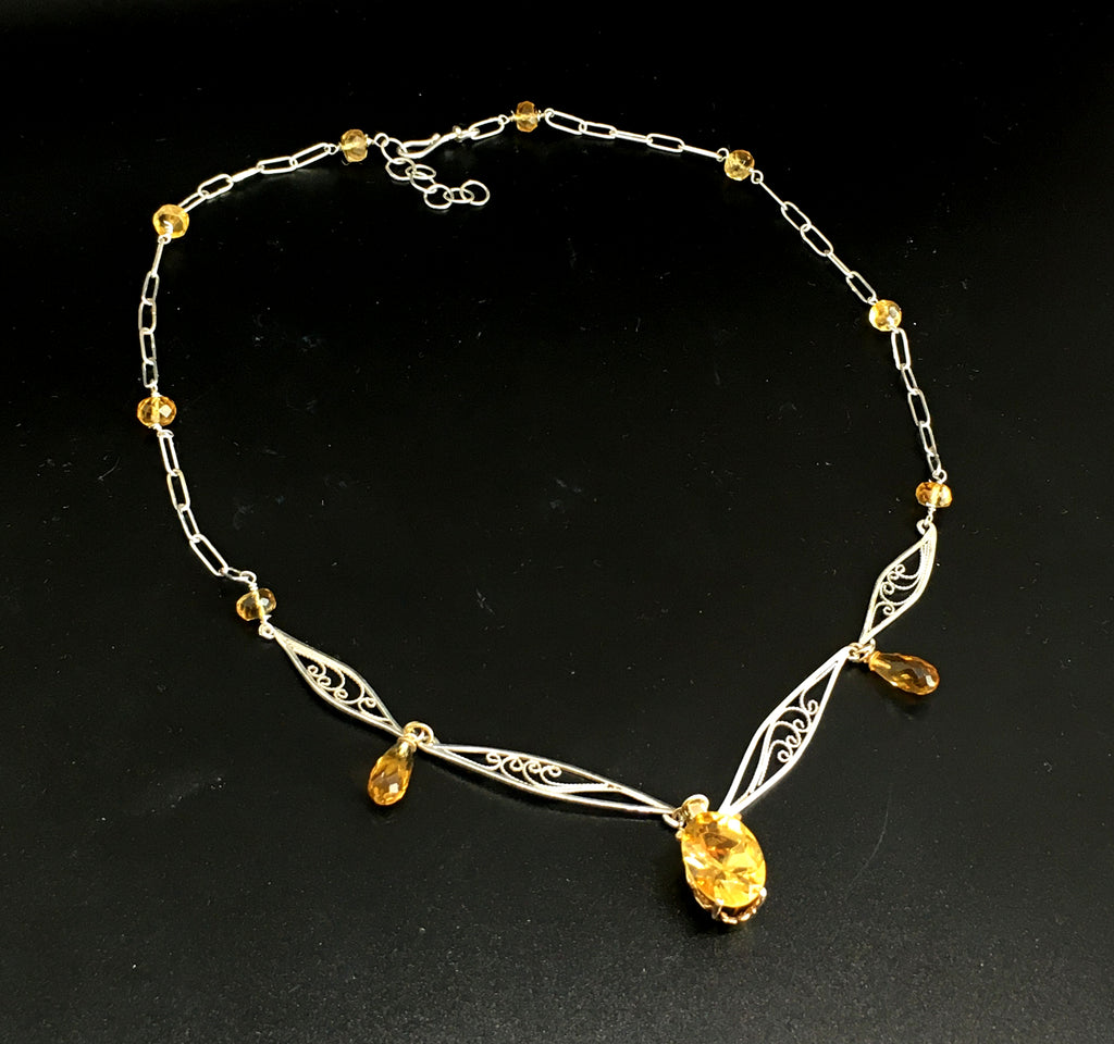 handmade russian filigree necklace with citrine in sterling silver and 14K yellow gold