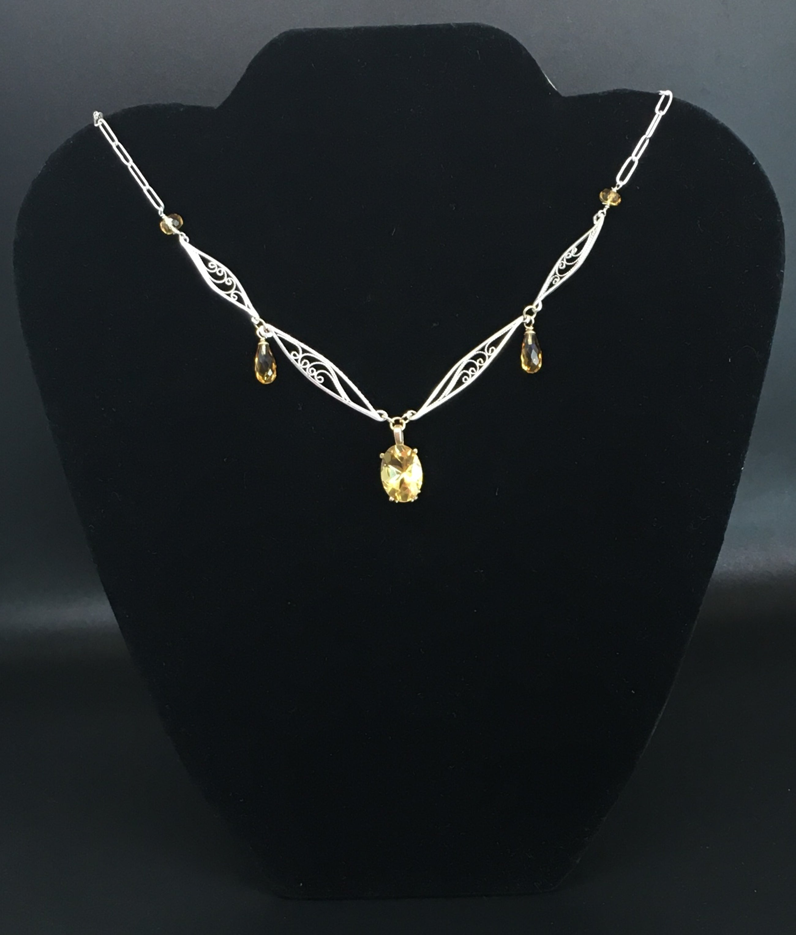 Handmade Fiigree Necklace with Citrine in Silver and 14K Yellow Gold
