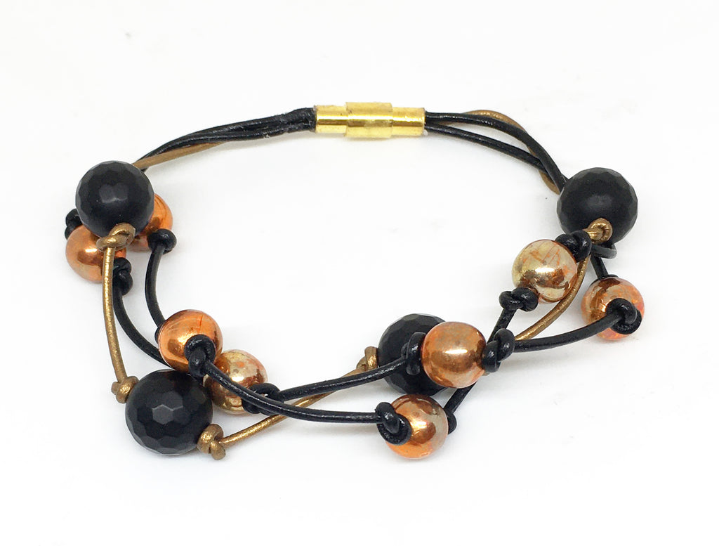 Flame Painted Copper Bead and Onyx Triple Strand Leather Bracelet