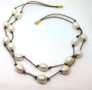 White Baroque Pearl Knotted Gold Leather Double Strand Necklace