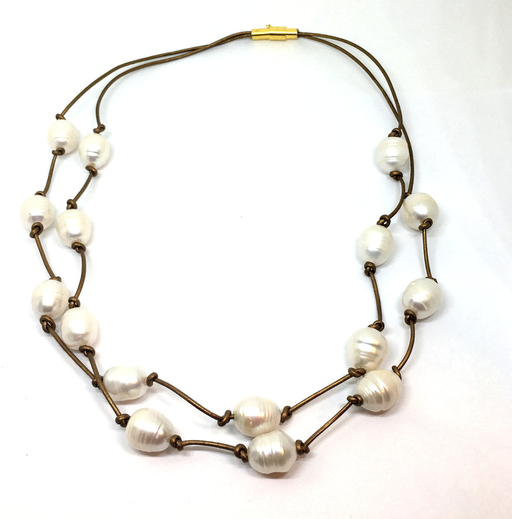 Double strand baroque white pearl knotted leather necklace