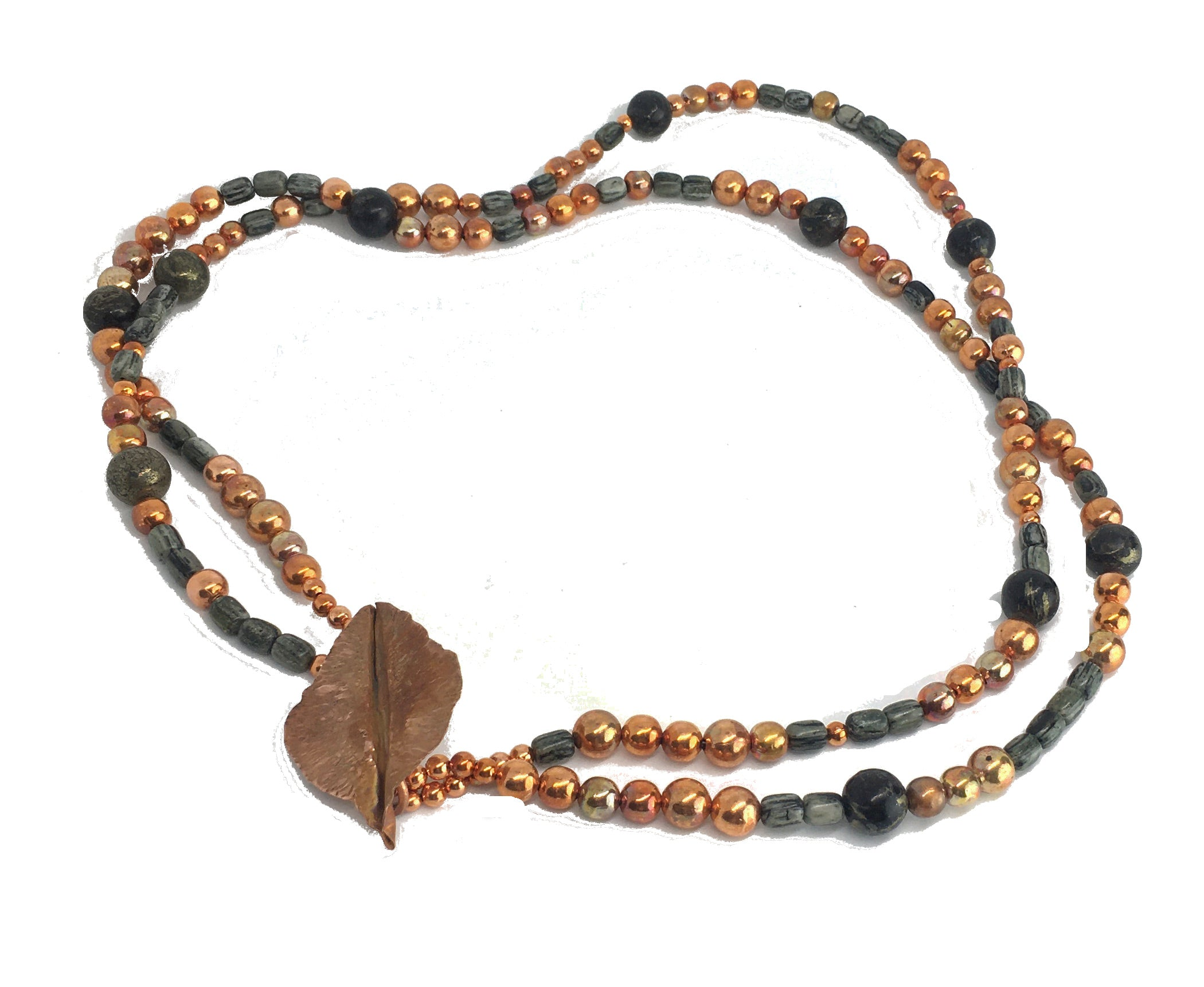 sonoran sunset double strand arizona gemstone fire painted copper bead necklace with handforged leaf