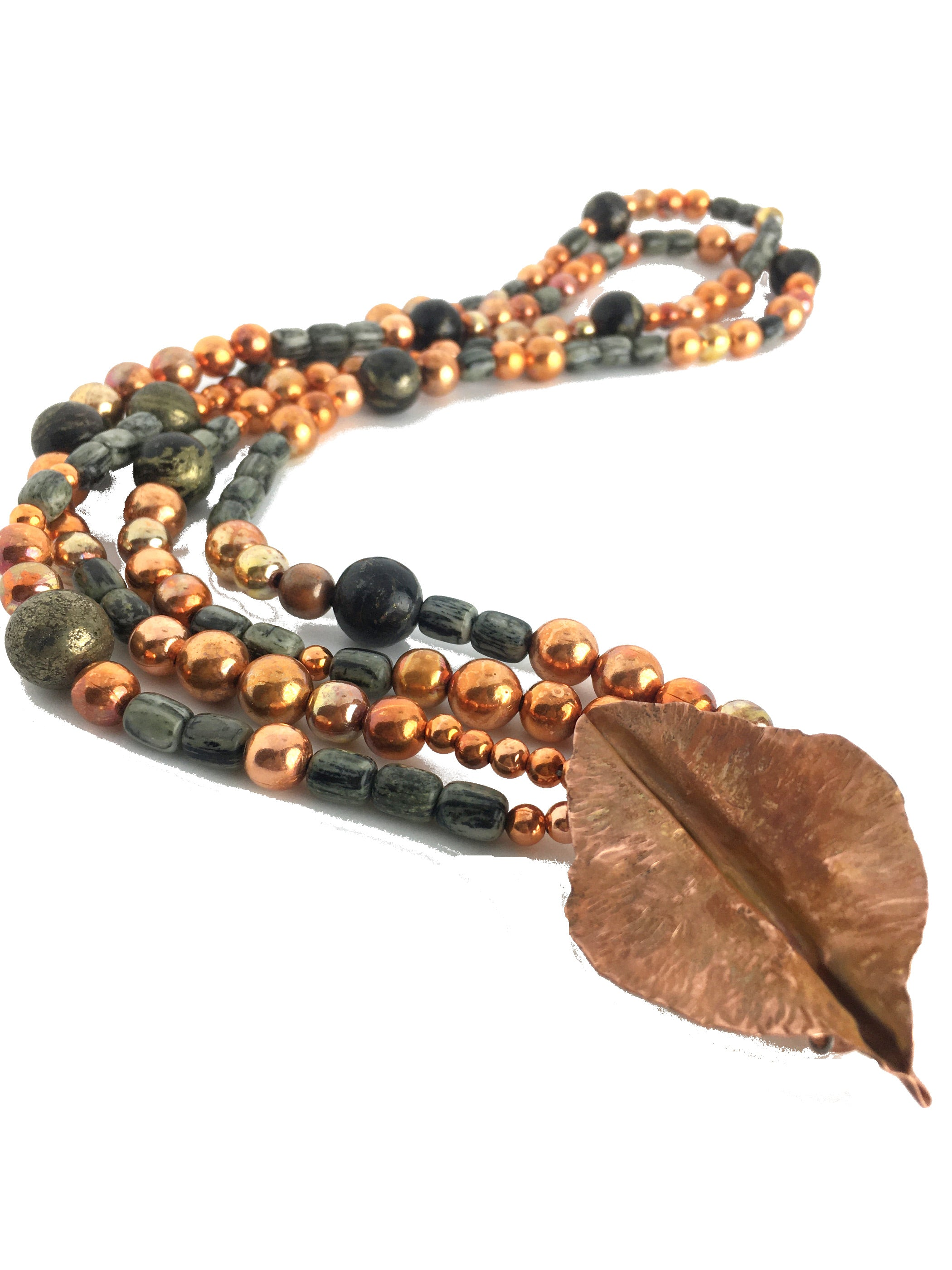 Double Strand Arizona Gemstone Sonoran Sunset Necklace with Hand Forged Copper Leaf