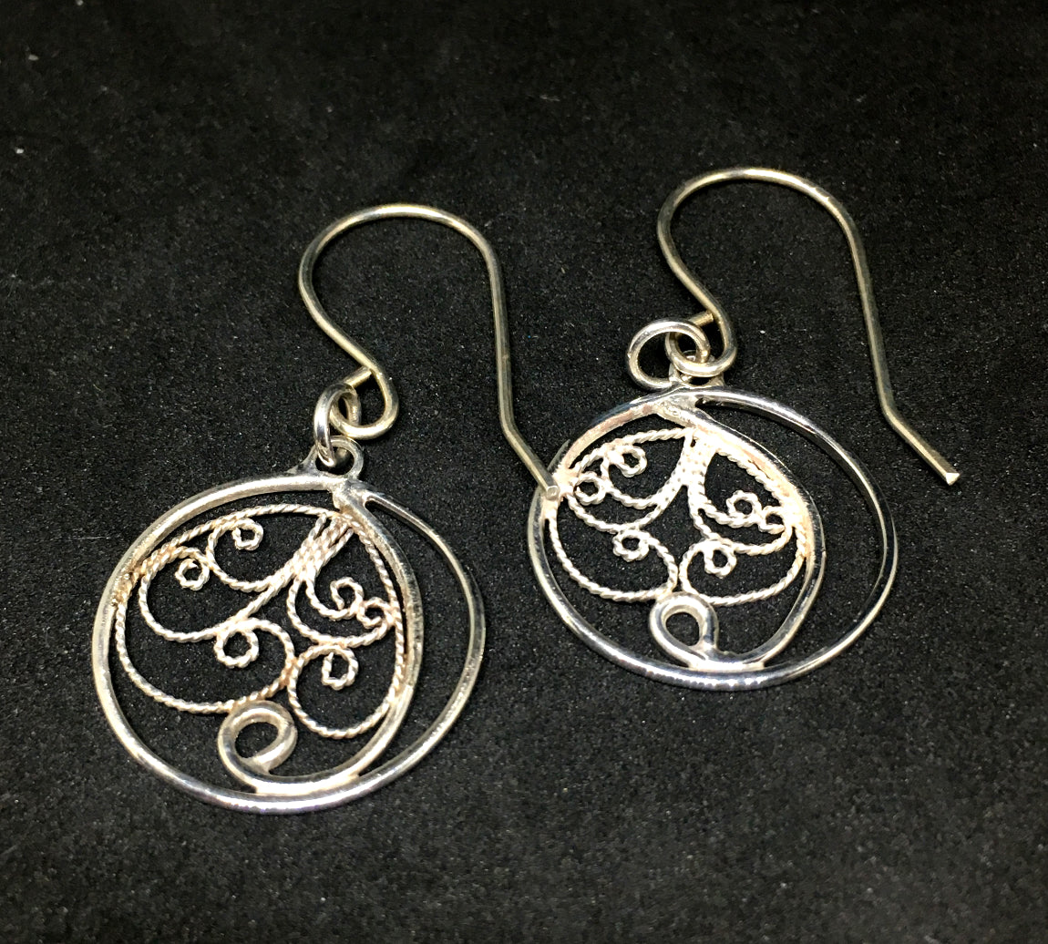 Handmade russian open back filigree silver earrings