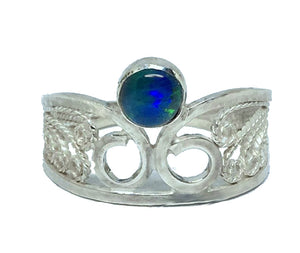 Black Australian Opal Filigree Ring