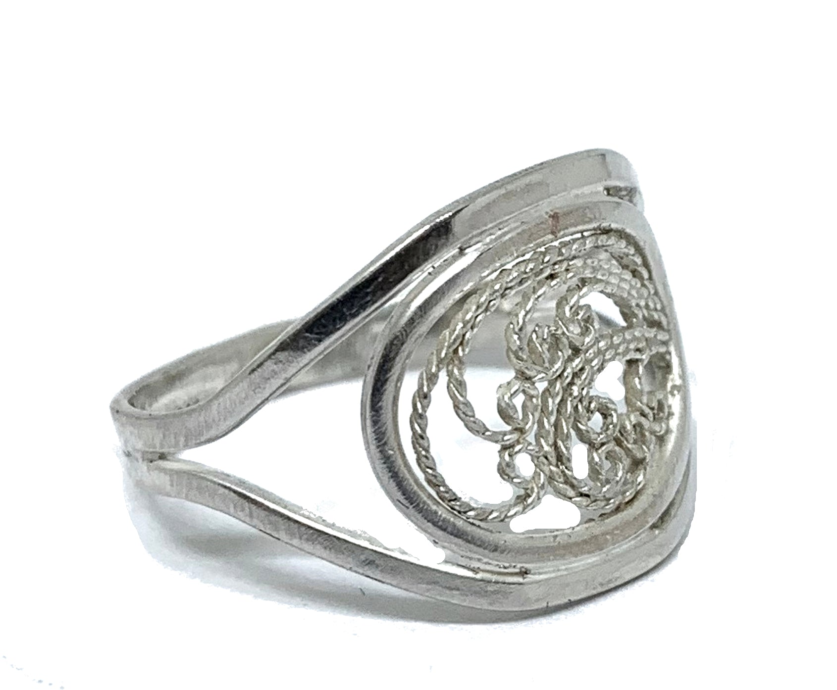 handmade silver filigree ring size 8.5