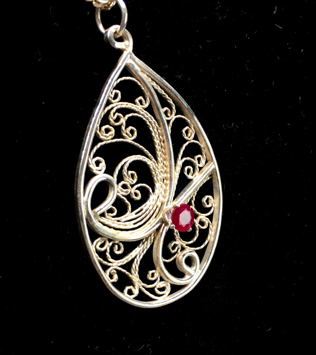 Handmade Filigree Pendant Necklace with Ruby