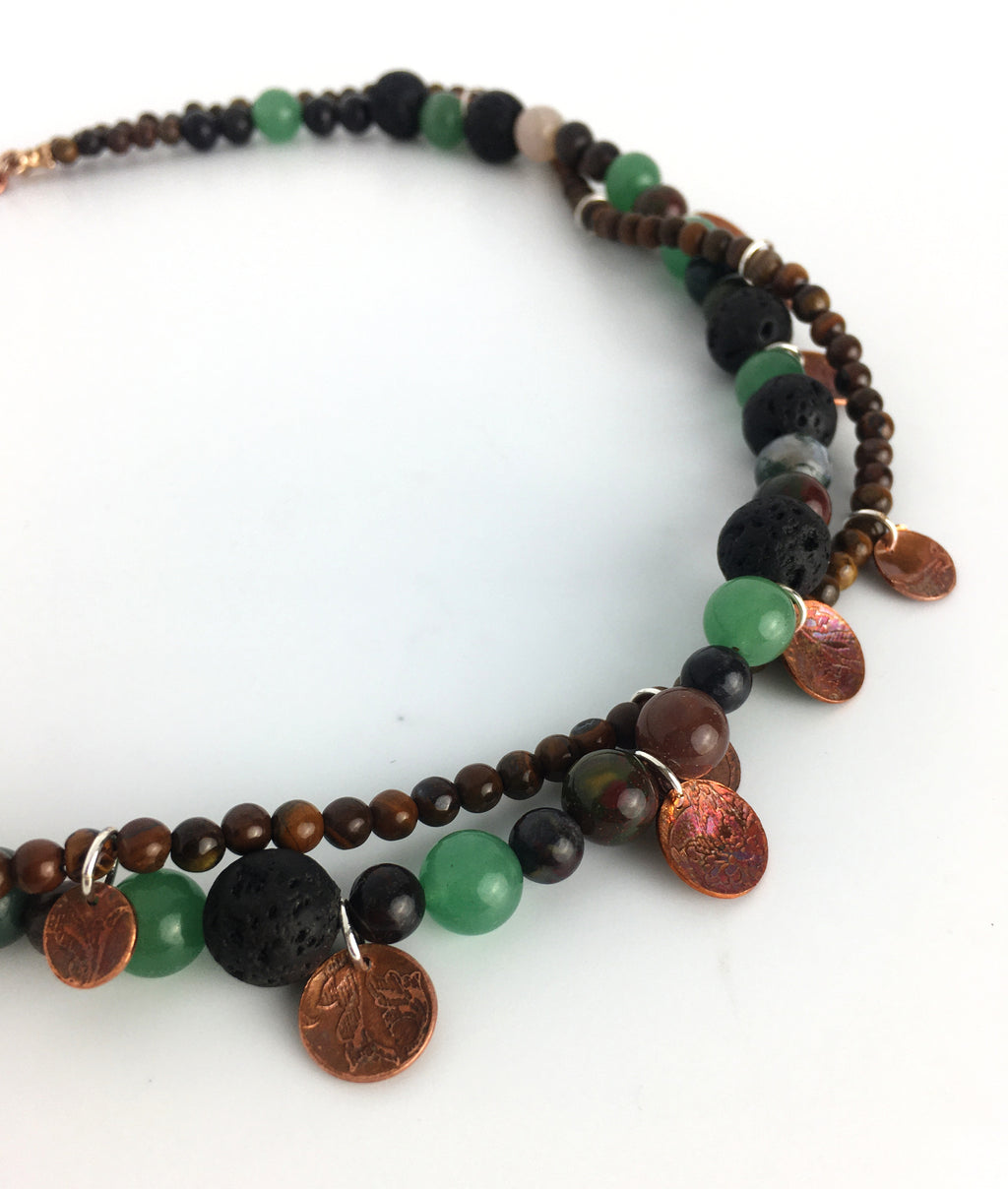 Mixed Two Strand Gemstone Necklace with Sustainably Etched Copper