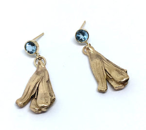 14K solid yellow gold mitsuro hikime dangle earrings with round faceted aquamarines