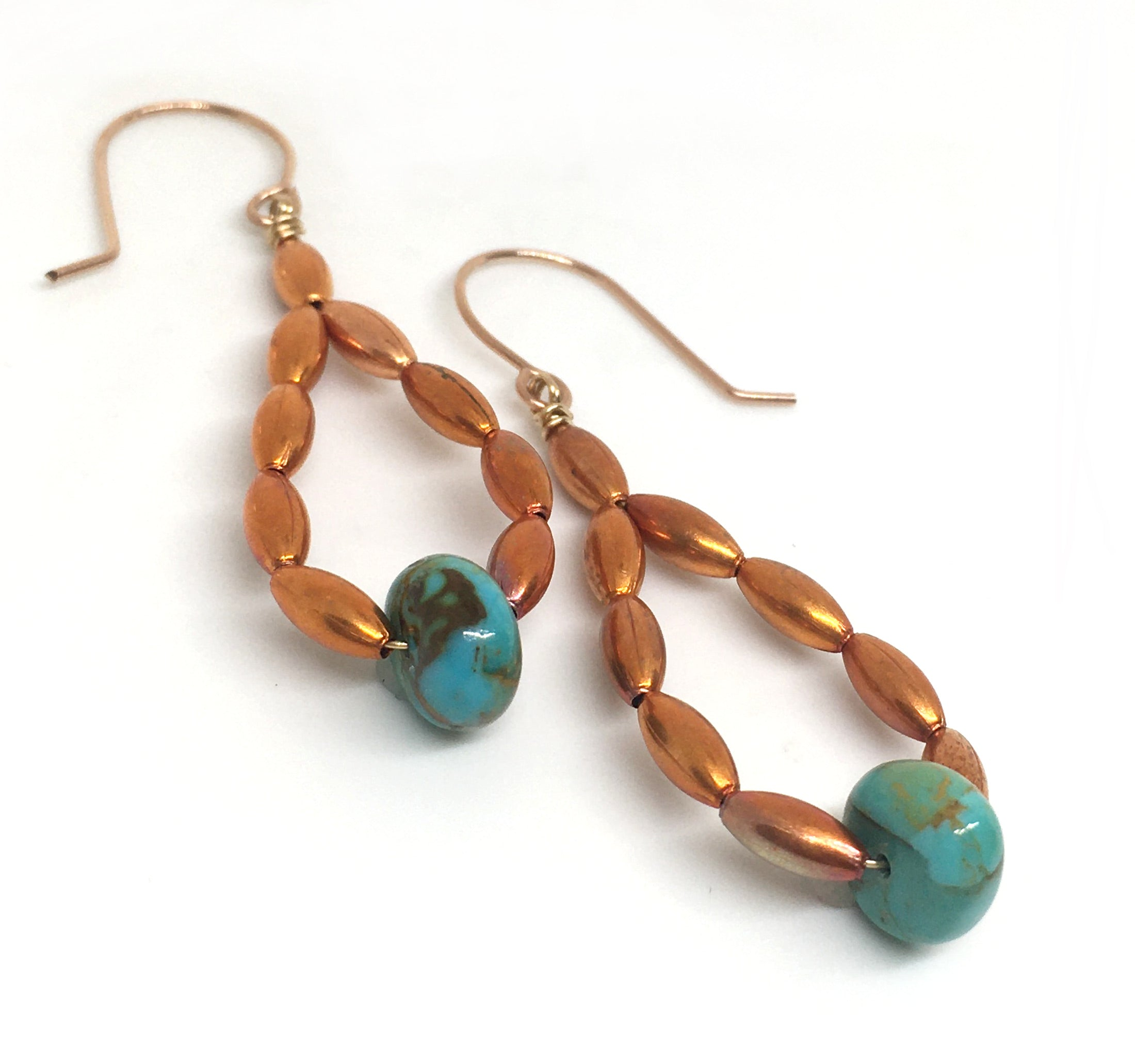 Kingman Turquoise and Flame Painted Oval Copper Bead Hoop Earrings - Sonoran Sunset Collection