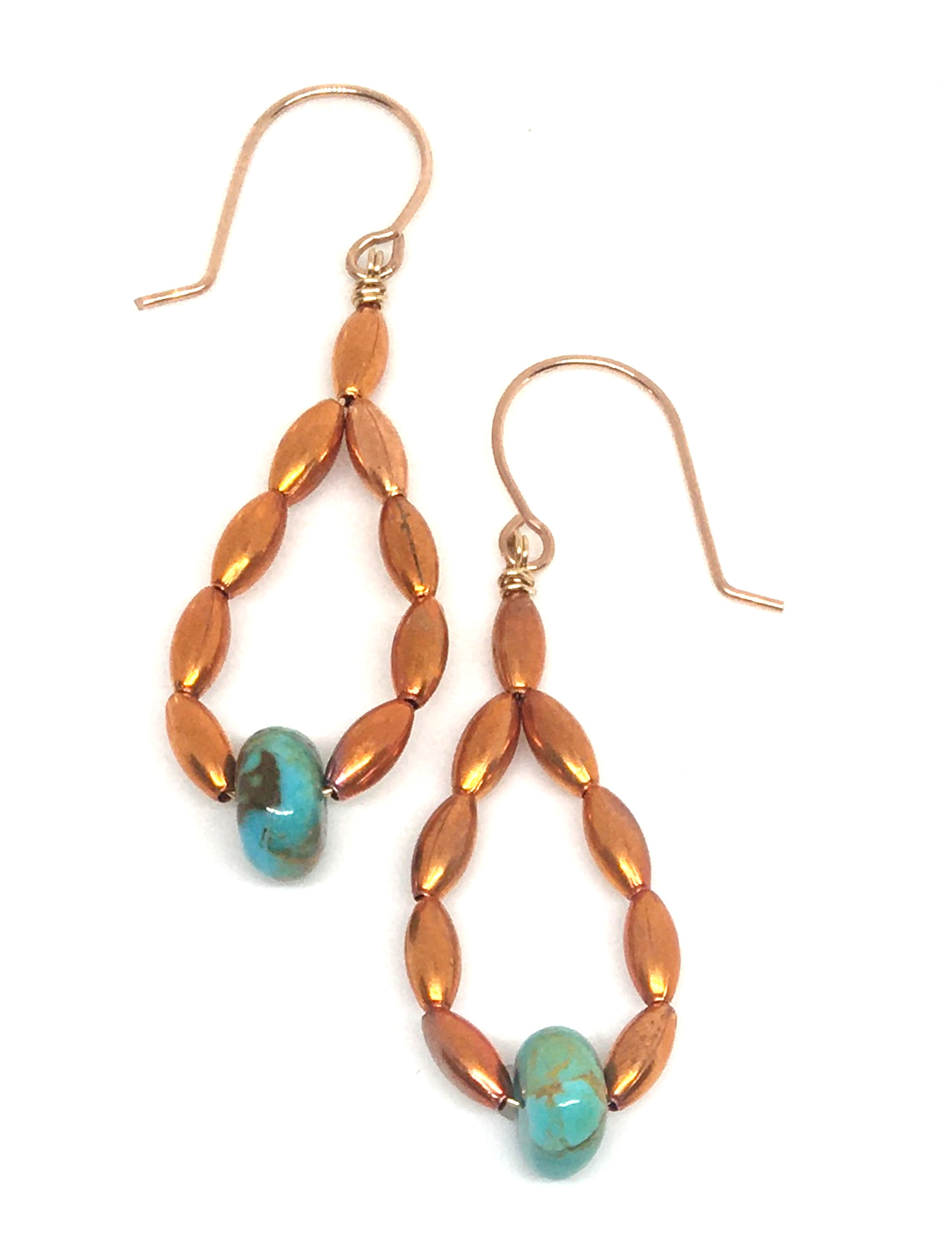 kingman turquoise and oval flame painted copper bead hoop earrings on handmade gold filled earwires