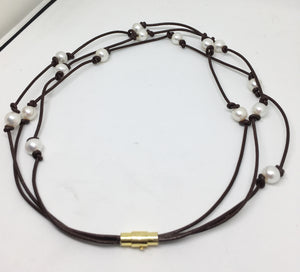 Freshwater Pearl and Knotted Leather Triple Strand Necklace