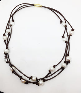 freshwater white pearl triple strand knotted brown leather necklace