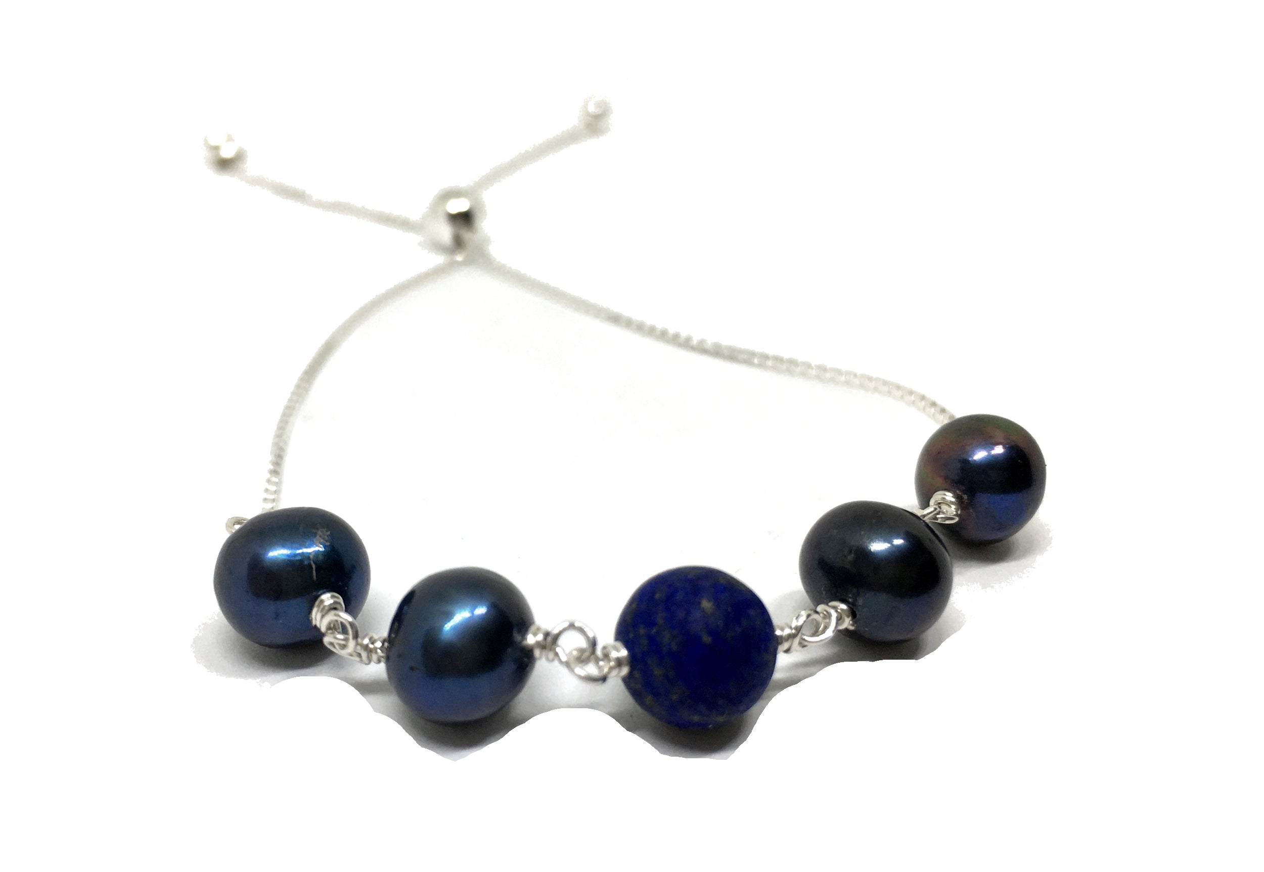 lapis lazuli and black pearl sterling silver bolo bracelet
