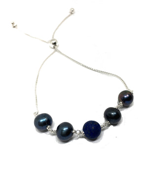 Lapis Lazuli and Black Pearl Bolo Bracelet in Sterling Silver