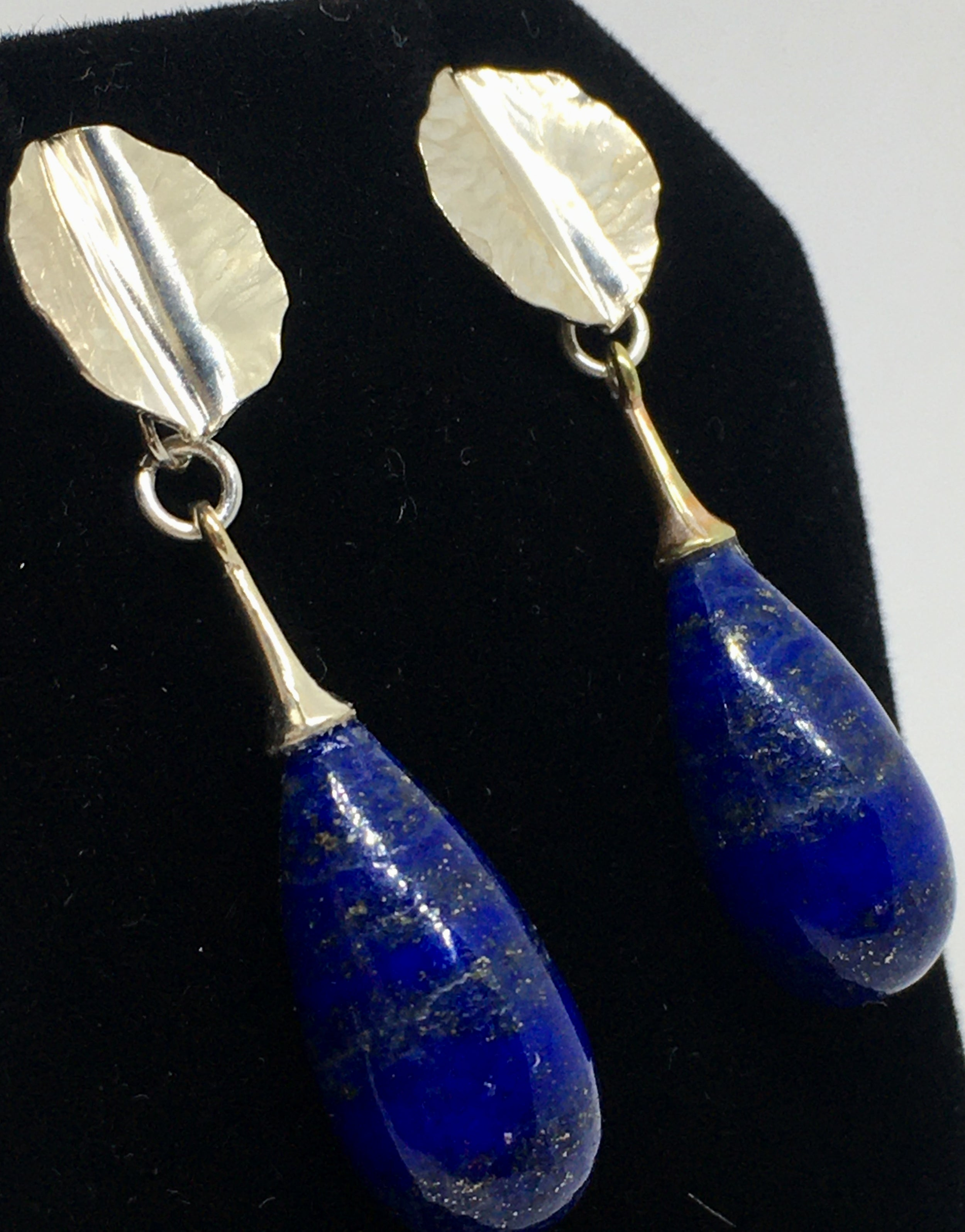 Lapis Lazuli Drop Earrings with Hand-forged Leaves