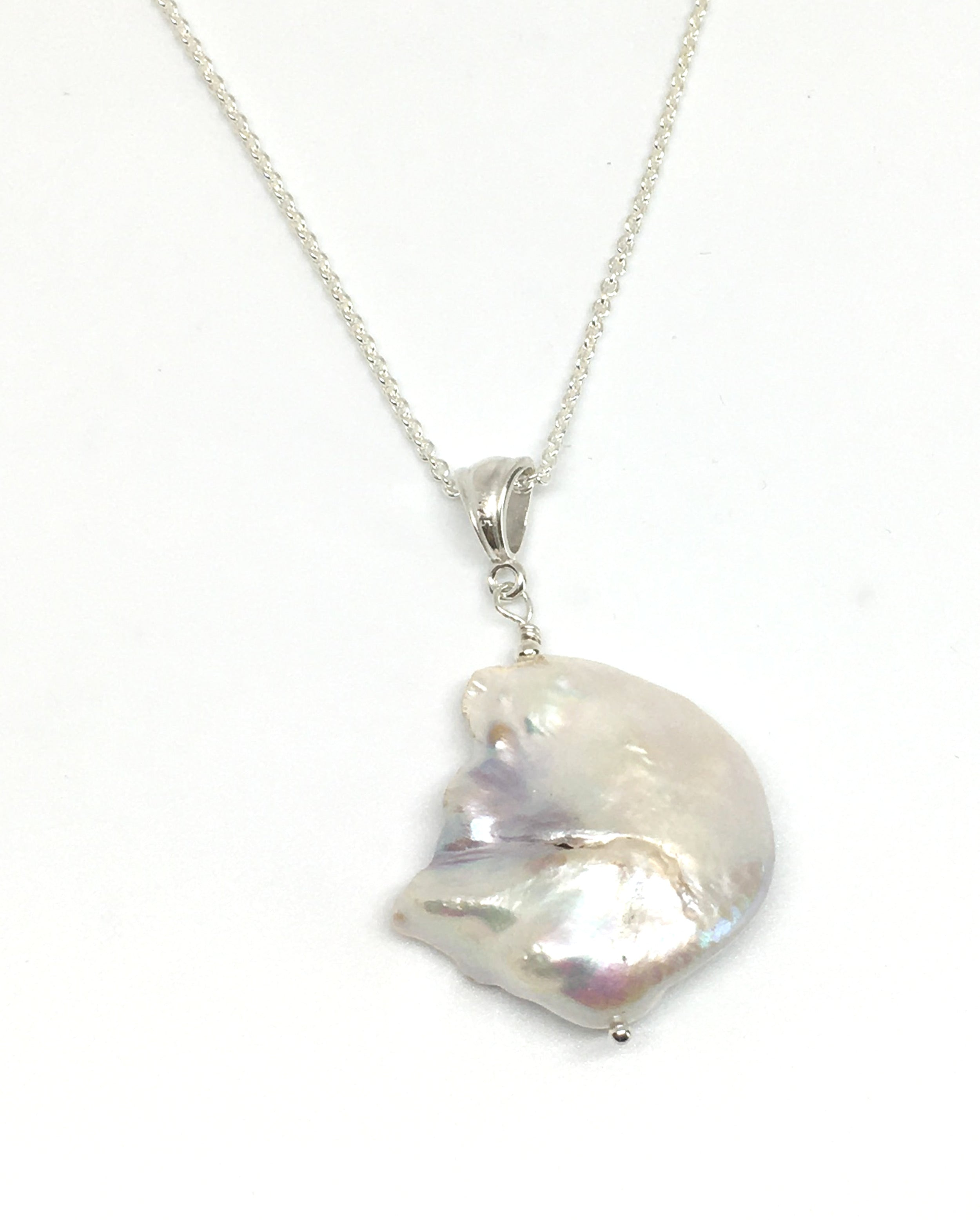 large cobblestone pearl pendant necklace on classic sterling silver cable chain