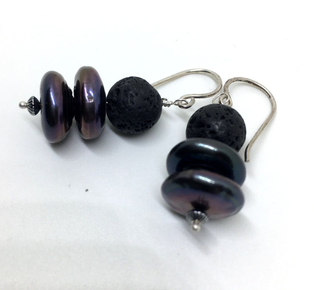 Peacock Freshwater Pearl and Black Lava Earrings