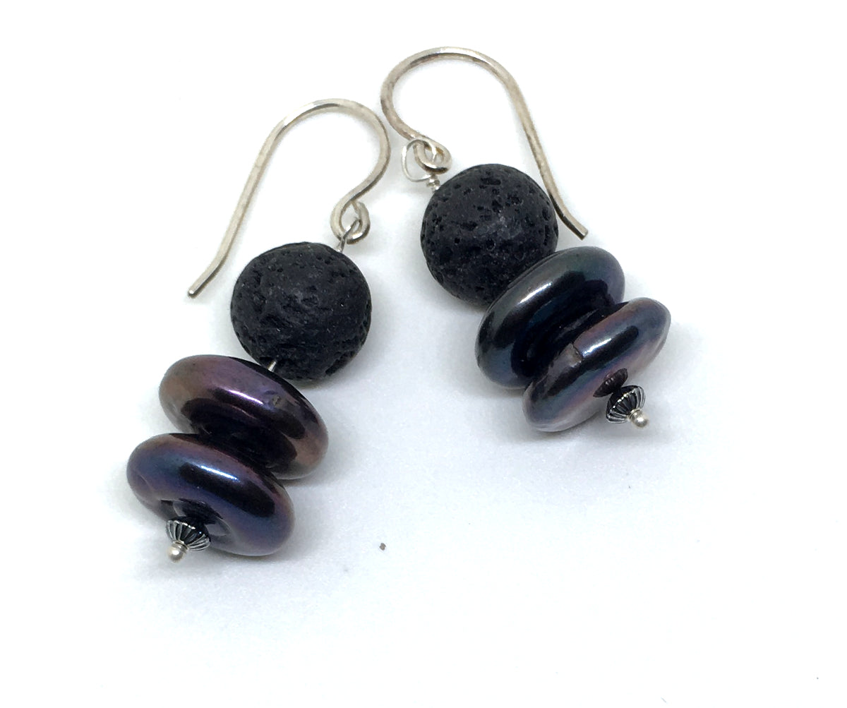 Peacock Coin Pearl and Black Lava Dangle Earring