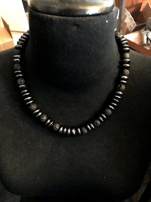 Peacock Freshwater Pearl and Black Lava Necklace