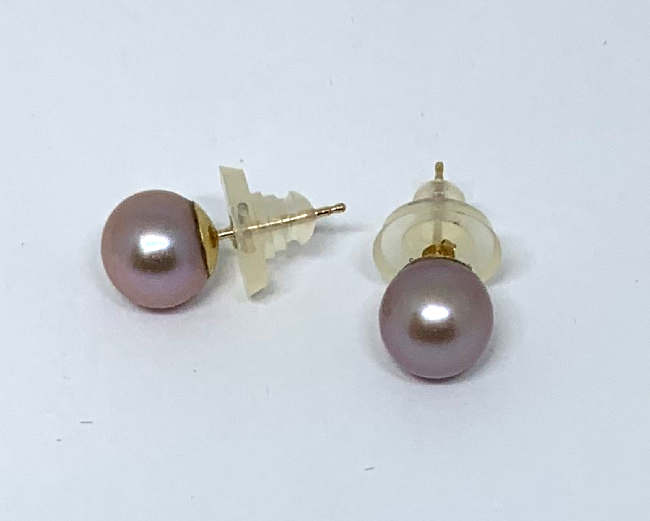 Lavender Freshwater Pearl Stud Earrings in 14K Yellow Gold